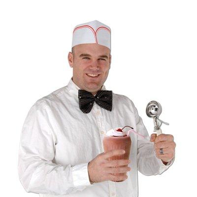 Beistle S60841AZ3 Soda Jerk Hats 12 Piece, White/Red