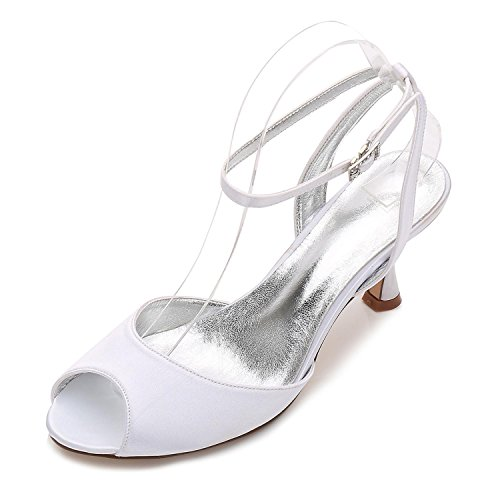 Mujer L 18 Sandalias Peep Shoes Heel Toe Para Low Party Tamaño Ladies Boda Nupcial Strappy yc E17061 White r0Ytrq