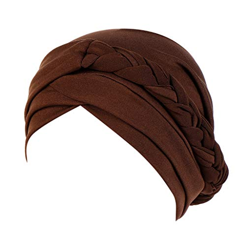 - FEDULK Women's Islamic India Hat Plain Ruffle Cancer Chemo Beanie Turban Muslim Wrap Cap(Coffee)