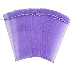 Wuligirl 20pcs Large Sheer Organza Wine Bottle Bags Drawstring Pouches Wedding Favors Baby Shower Dresses Festive Packaging Shampoo Bottle Bags 5.5 by 14.5 Inch(20pcs Lilac)