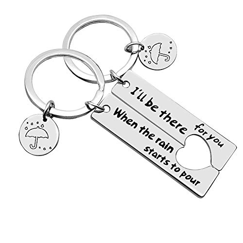 Best Friend Keychains (Couple Keychain I'll Be There for You Keychain Set TV Show Friend Inspired Keyring Gift for Best Friend Couple Friends Graduation Gifts Dad Mother Jewelry)