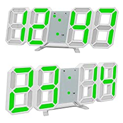 LED Wall Clock,3D LED Digital Alarm Clock Electronic Office Wall Mount, 24/12 Hour Display, Brightness Auto Dimmable Home Bedside Desktop Bedroom Living Room Clock (Green)