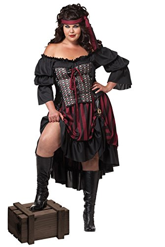 Plus Size Costume Halloween (California Costumes Women's Plus-Size Pirate Wench Plus, Black/Burgundy, 3X)