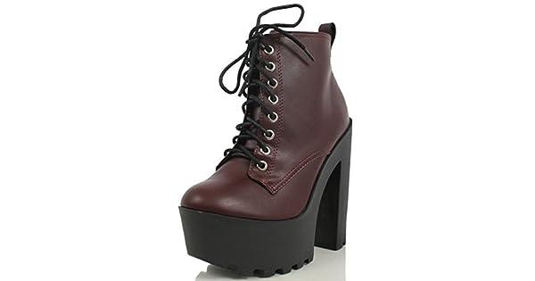 6b0bab5f8e553 Soda Women's Gru Faux Leather Lace-up Thick Platform Chunky Heel Lug Ankle  Bootie, Dark Wine, 7.5 M US