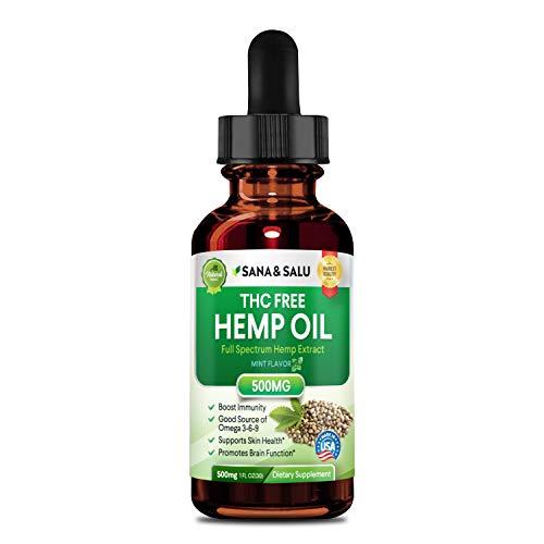Salu Nutrition  Hemp Oil,Hemp Extract with 500 mg – Helps with Anxiety, Chronic Pain, Sleep, Mood, Skin and Hair Utilizing Liquid Hemp Extract Oil Drops For Sale