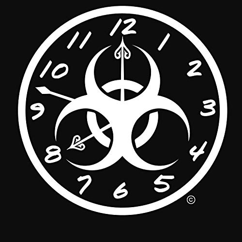 WallDecalsAndArt Zombie Room Decor-USA Made Apocolypse Now Vinyl Outdoor Decal-Zombie Clock Wall Art-Zombie Outside Art-Zombie Strike Countdown-for The Undead Fan!-Superior Apocolypse Decor-White