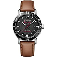 Wenger Men's 'Sport' Swiss Quartz Stainless Steel and Leather Casual Watch, Color:Brown (Model: 01.1841.105)