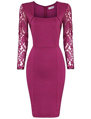 Tom's Ware Womens Stylish Lace Long Sleeve Bodycon Zip Midi Dress TWCWD126-PEACH-US S
