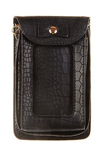 KISS GOLD(TM) Faux Leahter Crocodile Skin Crossbody Single Shoulder Bag Cellphone Pouch, Black - Faux Crocodile Skin Handbag