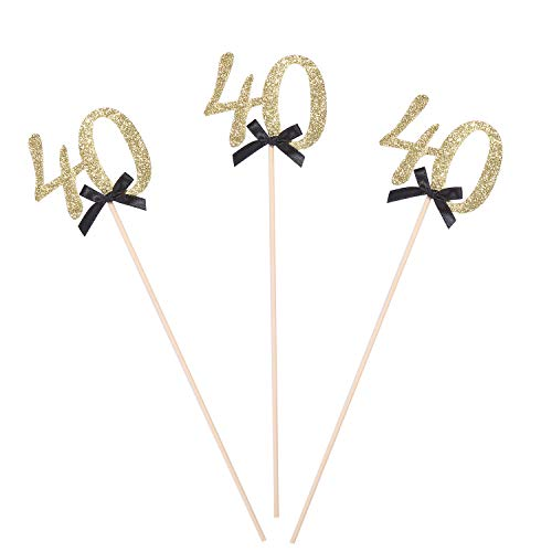 Pack of 10 Gold Glitter 40th Birthday Centerpiece Sticks Number 40 Table Topper Cake Decorations -