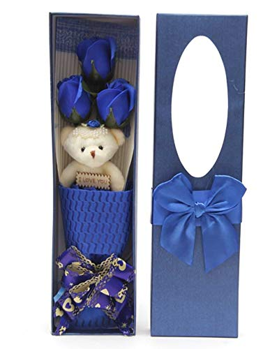 I Love You Blue Flower Bouquet Scented Soap Roses Cute Teddy Bear Lasting Anniversary Birthday sf0303A