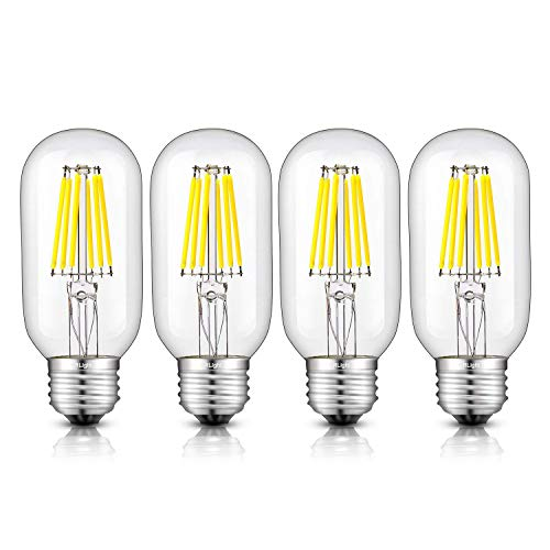 CRLight LED Tubular Bulb 6W 5000K Daylight White 650LM Dimmable, 65W Incandescent Equivalent,Replace 12W Compact Fluorescent CFL Bulbs,E26 Medium Base, T45 Antique LED Edison Filament Bulbs, Pack of 4