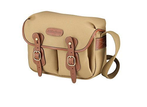 - Billingham Hadley Small, Camera or Document Shoulder Bag, Canvas with Tan Leather Trim and Brass Fittings- Khaki