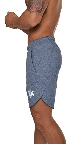 YoungLA Men's Running Shorts Athletic Gym Jogging Workout Powerlifting with Front Pockets 104 Dotted Blue Small