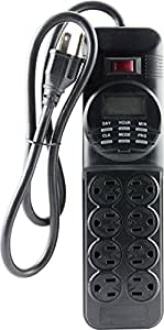 GE 7-Day Programmable Power Strip with Digital Timer, 8 Grounded Outlets (4 Timed/4 Always On), Indoor, 15 Amp, 1800W, Easy Presets and Custom Settings for Weekly Cycle, Minute Intervals, 15077