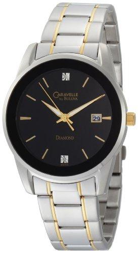 Caravelle by Bulova Men's 45D105 Diamond Black Dial Bracelet Watch
