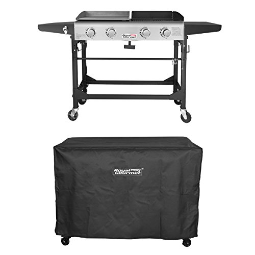 Royal Gourmet Propane Gas Grill and Griddle Combo,4-burner,Griddle Top, Outdoor Camping Stove with Side Table, Upgrading Product with New Process with Cover