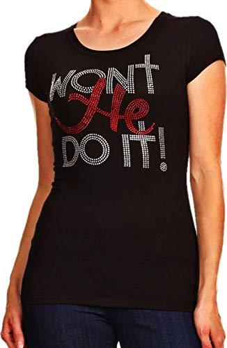 Sparkling Rhinestone Won't He Do It (2X) - Couture Rhinestone T-shirt