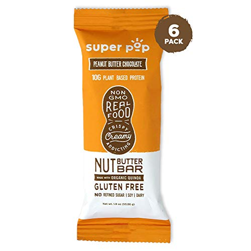 Super Pop Snacks Plant Based Protein Bar, Peanut Butter Chocolate, Made with Performance Nut Butter and Whole Foods, Vegan Friendly Ingredients, Dairy Free, Keto Friendly, 10g of Protein, 6 pack