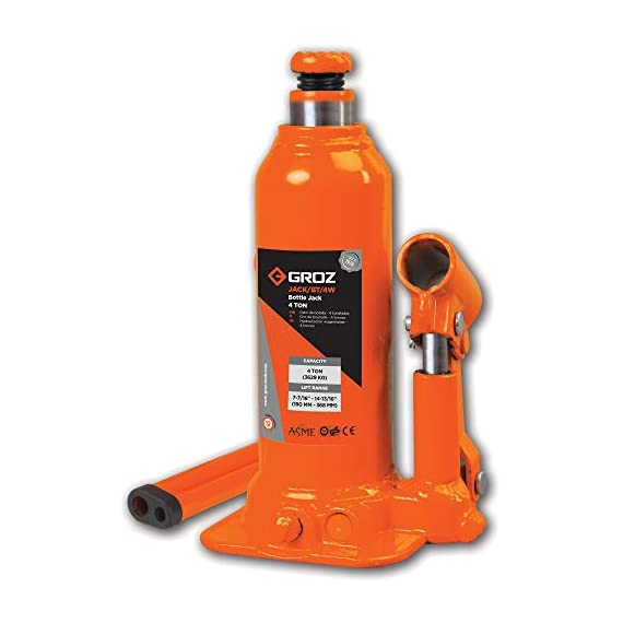Groz 4 Ton Hydraulic Bottle Jack with Load Limiting Device | Ideal for use with Cars, Mini Trucks, MUVs, SUVs, LCVs, etc.| Portable| Leak-proof| Forged Base| Lifting Range: 190 – 368 mm| JACK/BT/4W 1