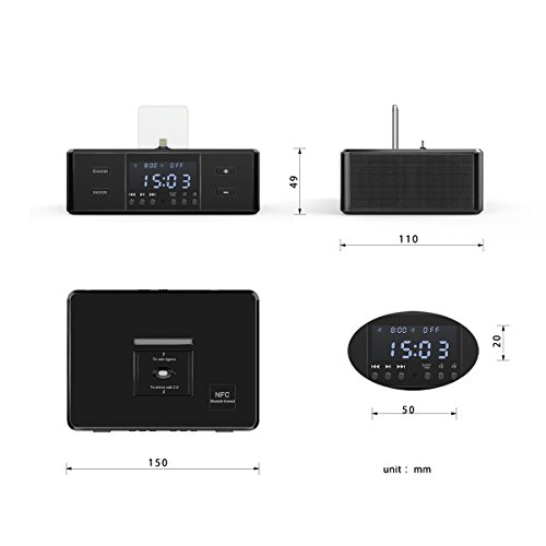 Updated D9 Digital FM Dual Alarm Clock Radio with 3 Lightning Docks (8Pin/Type-c/Micro-usb Charging Port) Bluetooth 4.0 Speaker for Iphone 5/5s/6/6+/7/7+/android smartphones