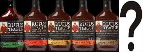 Rufus Teague BBQ Sauce Large Sampler 16oz Flask Shaped Glass
