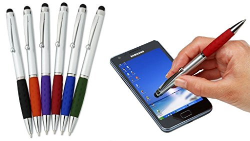 Stylus Pens -2 in1 Capactive Touch Screen with Ballpoint Writing Pen Sensitive Stylus Tip For Your iPad iPhone Samsung Galaxy & All Smart Devices -Silver Barrel - Assorted Colors Comfy Grips,24 Pack