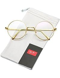 Retro redondo de metal Frame Clear Lens non-prescription anteojos