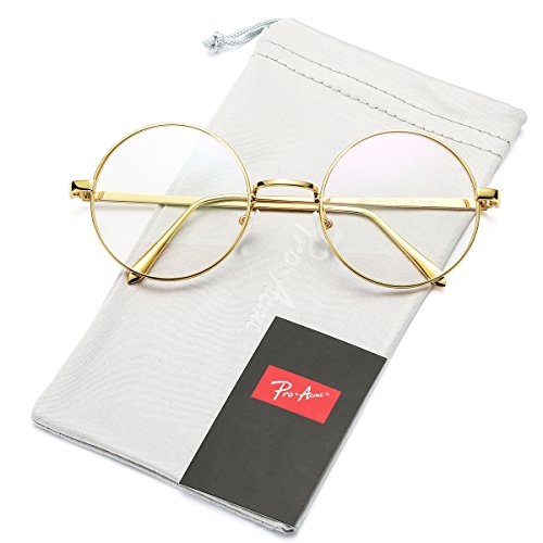 Pro Acme Retro Round Metal Frame Clear Lens Glasses Non-Prescription(Gold Frame/Clear - Glasses Frame Length