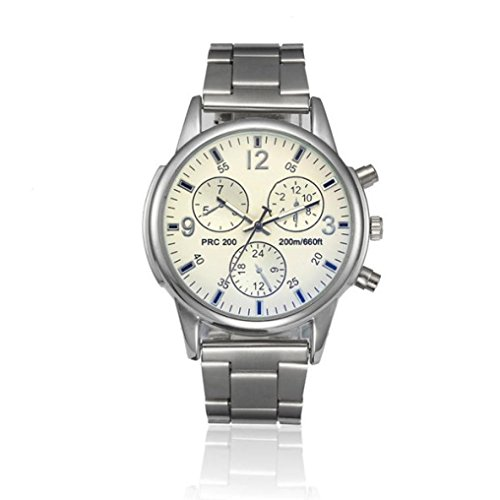 Clearance!Watch, Mens Fashion Crystal Stainless Steel Analog Quartz Wristwatch Simple Clock (White)