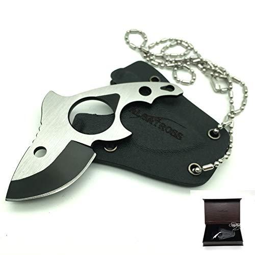 ALBATROSS FK007 Mini Fixed Blade Pocket Neck Knife with Sheath & Ball Chain (Neck Mini Knife)