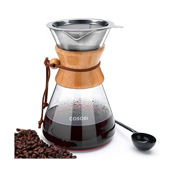 COSORI Pour Over Coffee Maker, 8 Cup Glass Coffee Pot&Coffee Brewer with Stainless Steel Filter, High Heat Resistance… 1