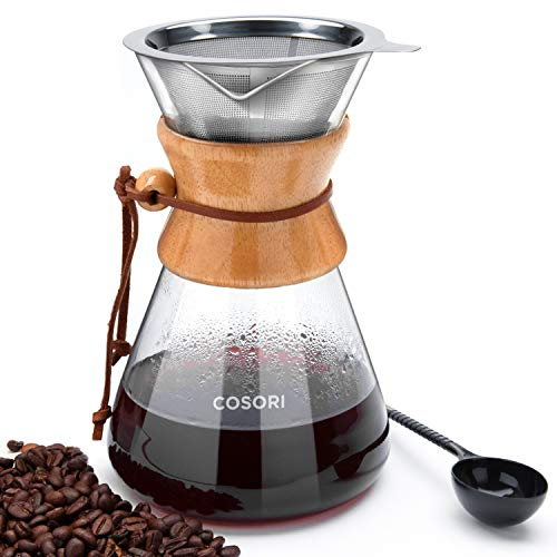 COSORI Pour Over Coffee Maker, 8 Cup Glass Coffee Pot&Coffee Brewer with    Stainless Steel Filter, High Heat Resistance Decanter, Measuring Scoop    Included, 34 Ounce