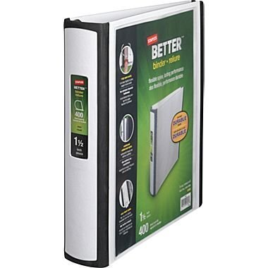 1-1/2 Inch Staples Better View Binders with D-Rings (White)