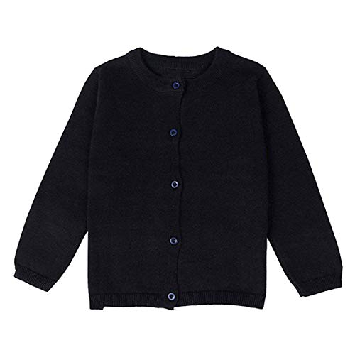 (Dutebare Baby Girls Cardigan Sweaters Toddler Long Sleeve Crewneck Uniform Knit Cardigans Black 4)
