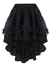 Burvogue Women's Victoria Gothic Long Maxi Steampunk Skirts Floral Lace Asymmetrical