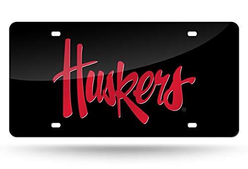 Rico Nebraska Cornhuskers Black Laser Cut License Plate