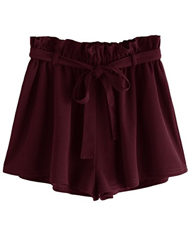 (Romwe Women's Casual Elastic Waist Summer Shorts Jersey Walking Shorts Burgundy S)