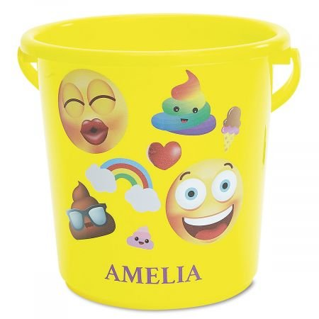 Lillian Vernon Personalized Kids Emoji Beach Bucket - 7'' H Sandbox Bucket, Summber Bucket by Lillian Vernon (Image #1)