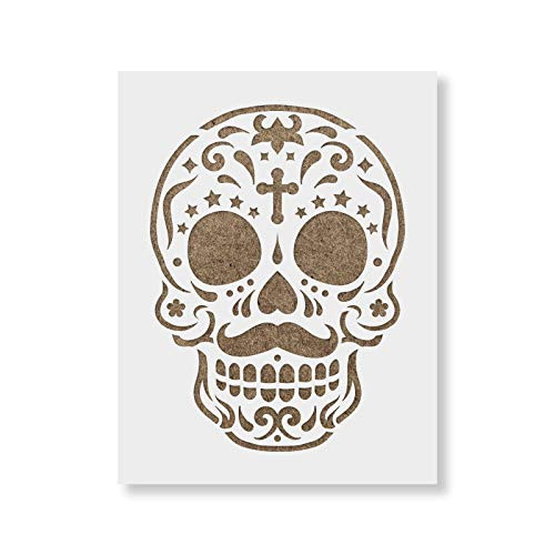 Sugar Skull Gomez Stencil Template for Walls and Crafts - Reusable Stencils for Painting in Small & Large Sizes]()