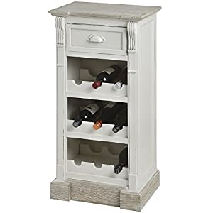 ANTIQUE WHITE KITCHEN CABINET UNIT WINE RACK SHABBY CHIC