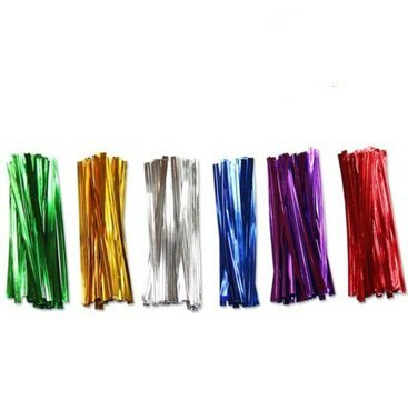 "UPC 711707204522, ONOR-Tech 600 pcs 4"" Metallic Twist Tie for Bakery Candy Lollipop Cello Bag (6 Colors)"