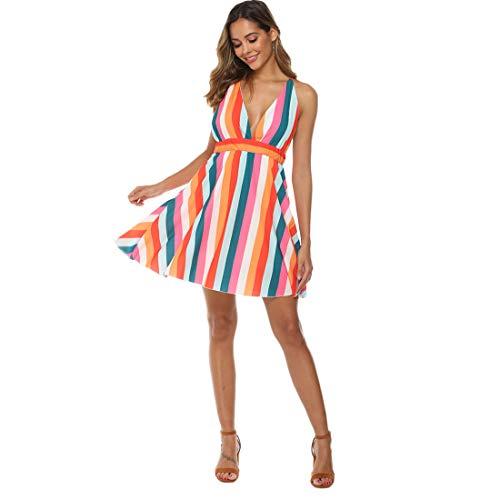 - Women Backless Striped Dress Colorful Summer Beach Dress Deep V Neck Sundress Sexy Bohemian Chiffon Dress (Medium)