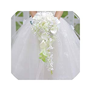 Lady Night Waterfall Red Wedding Flowers Bridal Bouquets Artificial Pearls Crystal Wedding Bouquets Bouquet De Mariage Rose,White 73