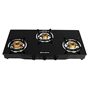 Faber Gas Stove 3 Burner Glass Cooktop (Jumbo 3BB BK) Manual Ignition , Black