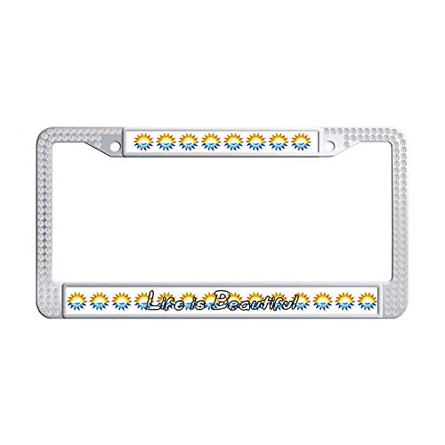 Hensonata Sparkle Glitter White Rhinestone Stainless Steel License Plate Frames, Life is Beautiful Personalized Waterproof Slim Design Metal Glitter Crystal Car Licenses Plate Covers