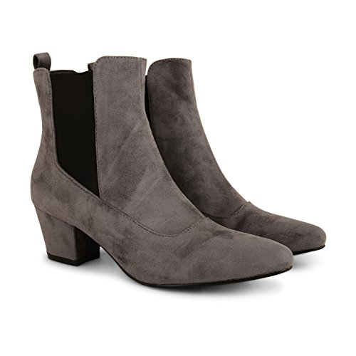 Tilly Shoes – Nuevo Chelsea Tacón Chunky Twin Gusset Botines Zapatos Gris - gris