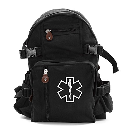 Star of Life Medical Logo Army Sport Heavyweight Canvas Backpack Bag in Black & White, Small