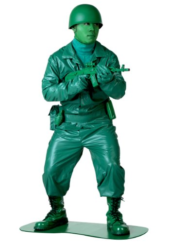 Green Army Men Costume (Men's Plastic Army Soldier Costume Adult Green Army Man -)
