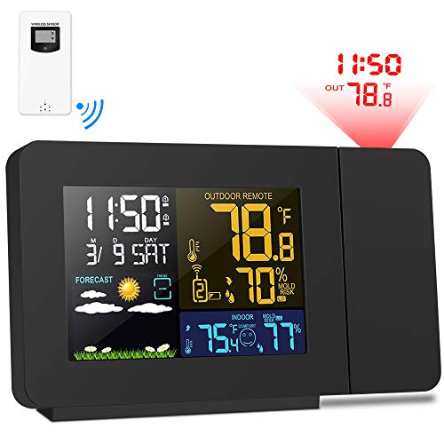 Kalawen Weather Station and Projection Alarm Clock Color Multifunctional Time Date Weekday Temperature Humidity LCD Display (Projection Clock)